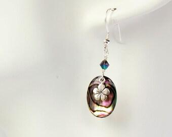 Silver Plumeria Earrings, Paua Frangipani Earrings, Hawaiian Earrings, Abalone Shell Earrings, Tropical Earrings, Delicate Plumeria Charm