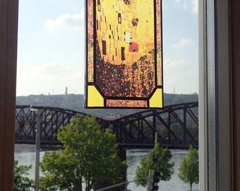 Gustav Klimt - The Kiss, Stained glass