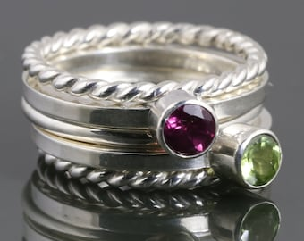 5 Stackable Rings: 2 Genuine Gemstone Rings, 2 Twisty Rings, 1 Round Ring. Sterling Silver. Stacking Rings. Made to Order.