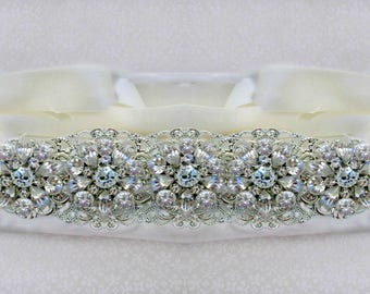 Wedding dress belt, silver bridal sash, crystal bridal dress sash, wedding belt, bridal belt, wedding sash, vintage rose collection