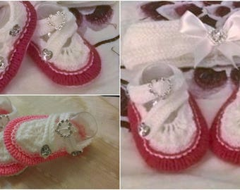 Baby Knitting patterns baby Arya shoes and hairband 0-3mths