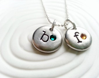 Personalized Hand Stamped Birthstone Initial Necklace- Mother's Necklace