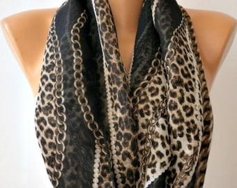 Spring Leopard Print Infinity Scarf Mother's Day Gift Chiffon Circle Loop Scarf  Gift Ideas For Her Women Fashion Accessories