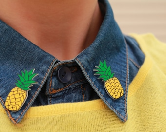 Yellow Pineapple Collar Clips // Fruits Pins// Sweater Pins // Collar Brooches