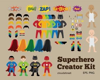 BUY 2 GET 1 FREE Superheroes Creator Kit clip art - superhero clipart - superhero clip art - super hero clipart - commercial use ok