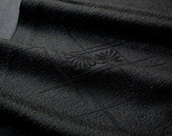 "14.1""w. x 38.5""l. Japanese vintage silk kimono fabric black (chrysanthemum) 3144A"
