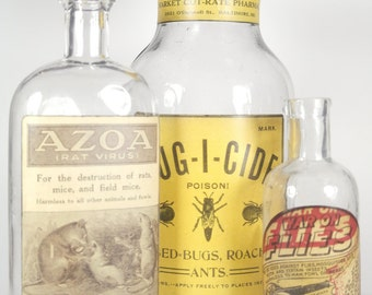 "Vintage Apothecary Glass Bottle Collection - ""Bug-I-Cide Collection"""