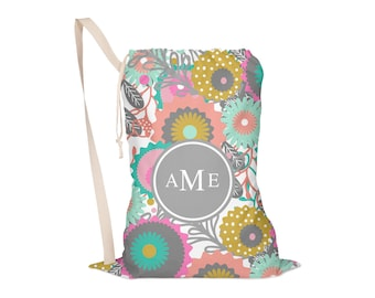 Laundry Bag, Drawstring Bag, Laundry Tote, Laundry Drawstring Bag, Monogrammed, Flowers, Floral, Mod Flowers One