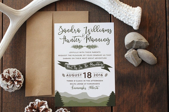 Canadian Wedding Invitations: Boho Mountain Wedding Invitation Hipster Canadian Rockies