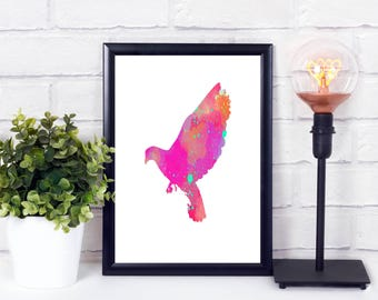 Printable Bird Print - Whimsical Bird Print - Abstract Bird Art - Whimsical Watercolor Print - Flying Bird Art - Whimsical Bird Art