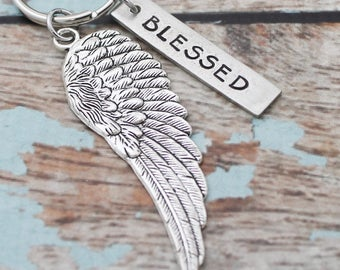 Blessed Angel Wing Keychain, Personalized Hand Stamped Inspirational Keychain, Gift for Her, Inspirational Key chain, Bird Wing Keychain
