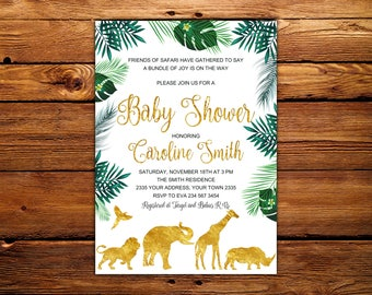 Safari baby shower invitation boy Etsy