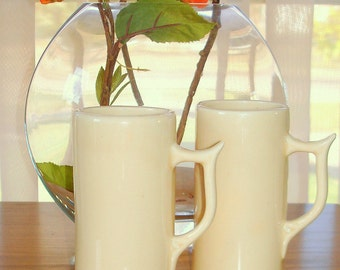 Two Demitasse Espresso Cups Vintage but Mod in Appearance Cream Colored Ceramic Tall Slender