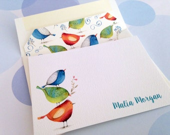 Personalized Stationery Set, Custom Note Cards, Bird Cards, Set of 10