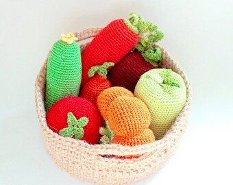7 Vegetables Set, Grocery Play, Rustic Gift, Stuffed Play Knit Food, Vegetable, Kitchen Decor, Waldorf Toy, Housewarming Gift,Organic cotton