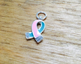 Brca pink and teal previvor charm