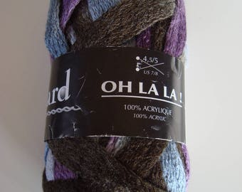 The wool is OH LA LA! boud'chou for scarf or border - 50 h - needles - gray Brown Violet 4, 5-5