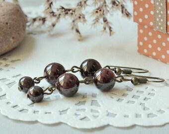Garnet birthstone Dangle earrings Garnet jewelry Mother earrings Wine red gemstones Long earrings January birthstone Woman earrings Fashion