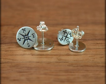 Compass earrings, Sterling silver compass post earrings, Compass rose earrings