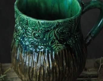 big green mug with texture brown green mug large mug handmade pottery mug rustic mug textured