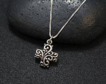 Sterling Silver Filigree Cross Necklace, Sterling Silver Swirl Cross, Cross Necklace, Cross Jewelry, Boho Sterling Jewerly, Sterling Swirl