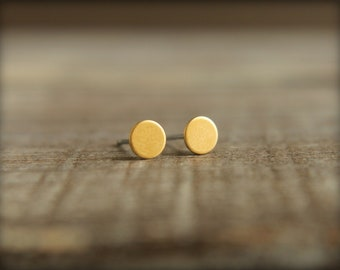 Tiniest Round Circle Earring Studs in Raw Brass or Raw Copper - 5mm, Stainless Steel Posts, Minimalist Clean Simple Earrings, Gold Tone