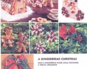 90s A Gingerbread Christmas Gingerbread House, Dolls, Stocking, Wreath and Ornaments McCalls Sewing Pattern 7773  UnCut