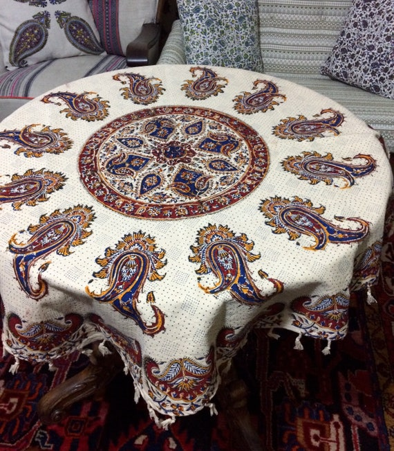 40 inches handmade round paisley tablecloth , block printed mandala tapestry , country style