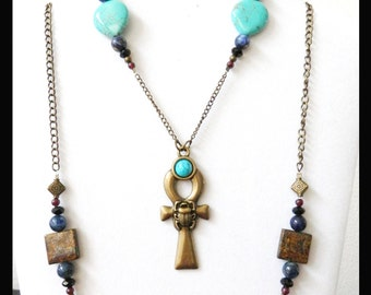 Egyptian Ankh Necklace and Bracelet Set with Turquoise, Garnet, Onyx and Lapis