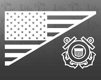 US Flag  / Coast Guard - Vinyl Decal