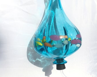 DREAMY ! Hummingbird Feeder - Turquoise Blown Glass