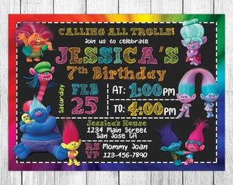 Trolls evite etsy trolls invitations trolls birthday trolls invites trolls party trolls printable trolls stopboris Gallery