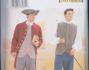 Butterick 3072 Mens 18th Century Costume Coat Shirt Vest Pants Hat UNCUT Sewing Pattern