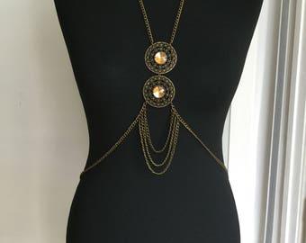 Bodychain/ bodynecklaceBodynecklace / collar de cuerpo en cristal/ mandala/ long necklace