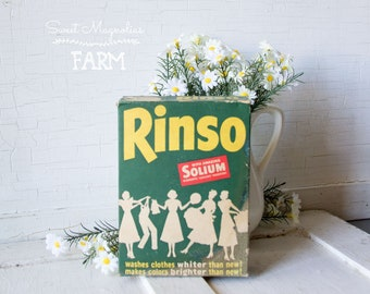 Vintage Rinso Laundry Detergent Soap Cleanser Vintage Advertising - Laundry Room Decor - NOS - Country Farmhouse Vintage Kitchen Retro Chic