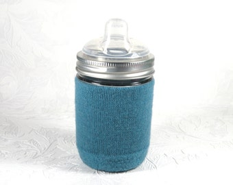 Jar Cozy - 1/2 pint size - cuff - teal