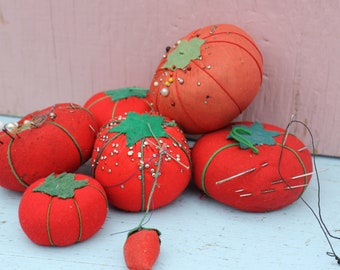 Vintage Tomato Pincushion Collection,  6 total, Instant Collection