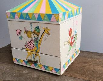 Illustrated Circus Cartoon Carousel Carnival Jewelry Box