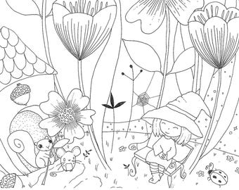 PENELOPE'S GARDEN and Willow the Squirrel Digital Download PDF Instant Coloring