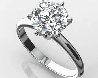 Solitaire Diamond Ring, 1.00ct Plus Solitaire Diamond Ring, 14Karat Gold Solitaire Diamond Ring