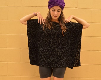 Vintage BURNOUT Black VELVET Dana Buchman Poncho Shawl Top TUNIC