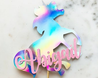 Unicorn Cake Topper. REGULAR SIZE. Customised Unicorn Cake Topper. Personalised Unicorn Name Cake Topper. Available in all colours