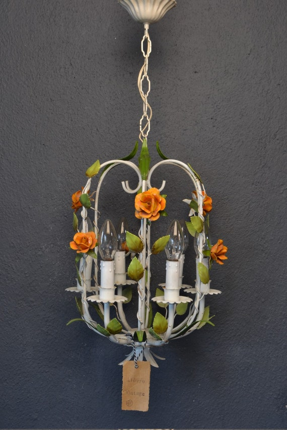 Beautiful toleware cage chandelier with orange flowers