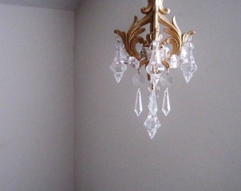 Mini chandelier etsy car chandelier in antique gold leaf made to order aloadofball Image collections