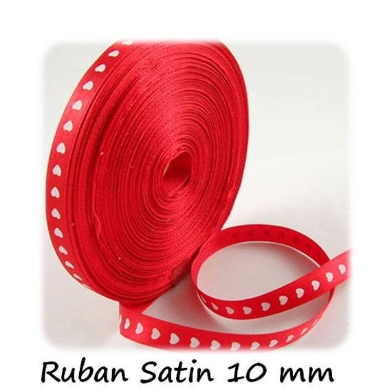 Satin Ribbon 10 mm [RedandWhiteHearts] x 1 meter