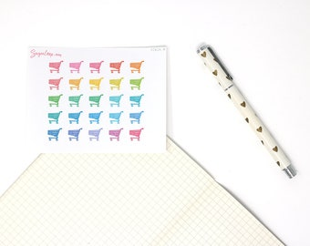 Shopping Cart Icon Stickers, Grocery, Supermarket, Shopping, Planner Stickers, Rainbow Icons, Black and White Icons, Task, Chore, ICN14
