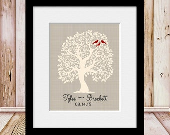Established Date Family Tree, Love Bird Family Tree Wall Print, Wedding Gift, Bridal Shower Gift, Wedding Day Decorations, Anniversary Gift