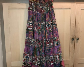 Bila Indian Cotton Skirt- Colorful Patchwork Skirt- Boho Festival Clothing- Vintage Midi Skirt- Lightweight Fabric- Made in India- XS SMALL