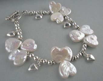 Pearl Hearts on Sterling