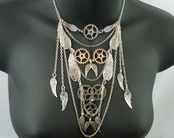 Angel Wing Steampunk Necklace - E103